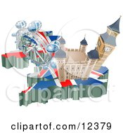 Tourist Attractions In The United Kingdom The London Eye Millennium Wheel Big Ben And Tower Of London Clipart Illustration