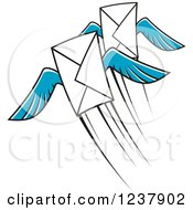 Clipart Of Envelopes With Blue Wings Royalty Free Vector Illustration
