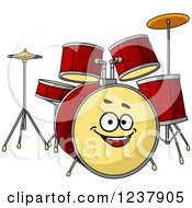 Clipart Of A Happy Drum Set Royalty Free Vector Illustration