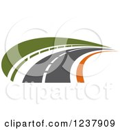 Clipart Of A Curving Roadway Royalty Free Vector Illustration