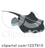 Clipart Of A Swimming Stingray Fish 7 Royalty Free Vector Illustration by Vector Tradition SM