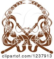 Clipart Of A Brown Laurel Wreath With Crossed Swords Royalty Free Vector Illustration