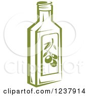 Clipart Of A Green Olive Oil Jar Royalty Free Vector Illustration