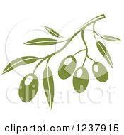 Clipart Of A Green Branch With Olives 2 Royalty Free Vector Illustration