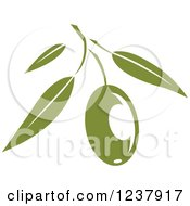 Clipart Of A Green Branch With An Olive Royalty Free Vector Illustration