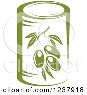 Clipart Of A Can Of Green Olives Royalty Free Vector Illustration