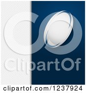 Clipart Of A Rugby Ball Over Blue And White Panels Royalty Free Vector Illustration by elaineitalia
