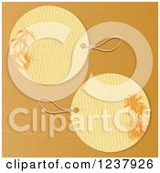 Round Tropical Sandal And Starfish Palm Tree Tags On Brown Paper