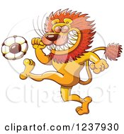 Clipart Of A Male Lion Kicking A Soccer Ball Royalty Free Vector Illustration by Zooco