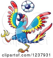 Clipart Of A Macaw Parrot Playing Soccer Royalty Free Vector Illustration by Zooco