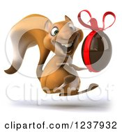 Clipart Of A 3d Happy Squirrel Hopping With A Chocolate Easter Egg Royalty Free Illustration