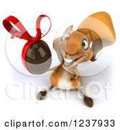 Clipart Of A 3d Happy Squirrel Holding Up A Chocolate Easter Egg Royalty Free Illustration