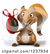 Clipart Of A 3d Happy Squirrel Holding A Chocolate Easter Egg Royalty Free Illustration
