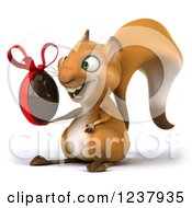 Clipart Of A 3d Happy Squirrel Holding A Chocolate Easter Egg 2 Royalty Free Illustration