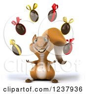 Clipart Of A 3d Happy Squirrel Juggling Chocolate Easter Eggs Royalty Free Illustration