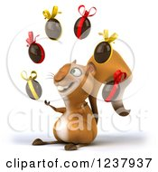 Clipart Of A 3d Happy Squirrel Juggling Chocolate Easter Eggs 2 Royalty Free Illustration