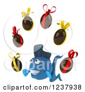 Clipart Of A 3d Blue Fish With Chocolate Easter Eggs 2 Royalty Free Illustration