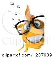 Clipart Of A 3d Bespectacled Goldfish Smiling Around A Sign Royalty Free Illustration