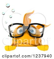 Clipart Of A 3d Sad Bespectacled Goldfish Over A Sign Royalty Free Illustration