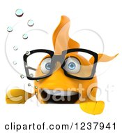 Clipart Of A 3d Bespectacled Goldfish Over A Sign Royalty Free Illustration