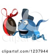 Clipart Of A 3d Blue Fish Holding A Chocolate Easter Egg Royalty Free Illustration
