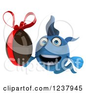 Clipart Of A 3d Blue Fish Holding A Chocolate Easter Egg 2 Royalty Free Illustration