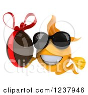 Clipart Of A 3d Goldfish Wearing Sunglasses And Holding A Chocolate Egg Royalty Free Illustration