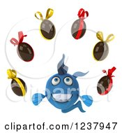 Clipart Of A 3d Blue Fish With Chocolate Easter Eggs Royalty Free Illustration