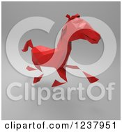Clipart Of A 3d Red Geometric Horse Running On Gray Royalty Free Illustration