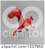 Clipart Of A 3d Red Geometric Horse Running On Gray 2 Royalty Free Illustration