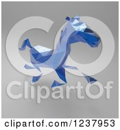 Clipart Of A 3d Blue Geometric Horse Running On Gray Royalty Free Illustration
