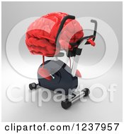 Clipart Of A 3d Red Brain Exercising On A Gym Spin Bike 2 Royalty Free Illustration
