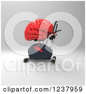 Clipart Of A 3d Red Brain Exercising On A Gym Spin Bike Royalty Free Illustration