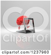 Clipart Of A 3d Red Brain Running On A Treadmill 3 Royalty Free Illustration