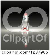 Clipart Of A 3d Red And Silver Rocket Royalty Free Illustration