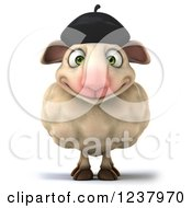 Clipart Of A 3d Happy French Sheep Royalty Free Illustration
