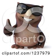 3d Owl Wearing Sunglasses And Holding A Thumb Up