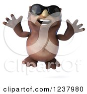 Clipart Of A 3d Happy Owl Wearing Sunglasses And Jumping Royalty Free Illustration by Julos
