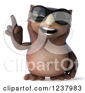 Clipart Of A 3d Owl Wearing Sunglasses And Holding Up A Finger Royalty Free Illustration by Julos