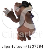 Clipart Of A 3d Happy Owl Wearing Sunglasses And Jumping 2 Royalty Free Illustration by Julos