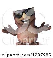 3d Shrugging Owl Wearing Sunglasses 2