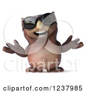 Clipart Of A 3d Shrugging Owl Wearing Sunglasses 2 Royalty Free Illustration by Julos