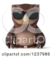 Clipart Of A 3d Pouting Owl Wearing Sunglasses Royalty Free Illustration by Julos