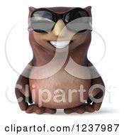 3d Happy Owl Wearing Sunglasses