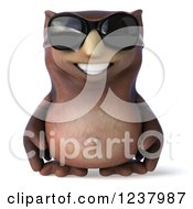 Clipart Of A 3d Happy Owl Wearing Sunglasses Royalty Free Illustration by Julos