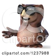 Clipart Of A 3d Shrugging Owl Wearing Sunglasses Royalty Free Illustration by Julos