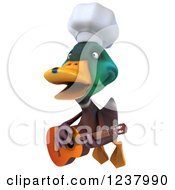 Clipart Of A 3d Mallard Duck Chef Flying And Playing A Guitar Royalty Free Illustration
