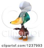 Clipart Of A 3d Mallard Duck Chef Pointing Left Royalty Free Illustration