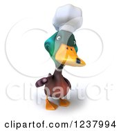 Clipart Of A 3d Mallard Duck Chef Pointing Outwards Royalty Free Illustration