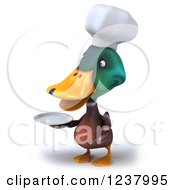 Clipart Of A 3d Mallard Duck Chef Holding A Plate Royalty Free Illustration